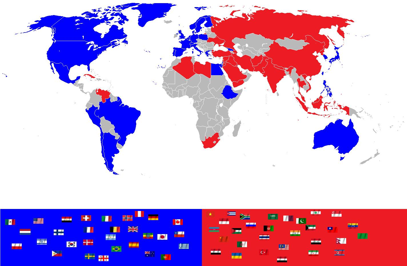 Map showing what sides countries are likely to take in world war 3