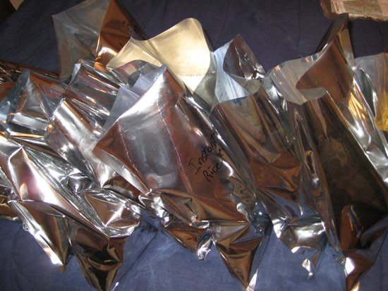 Mylar bags lined up