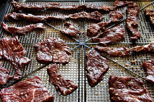 Jerky meat ready to dry