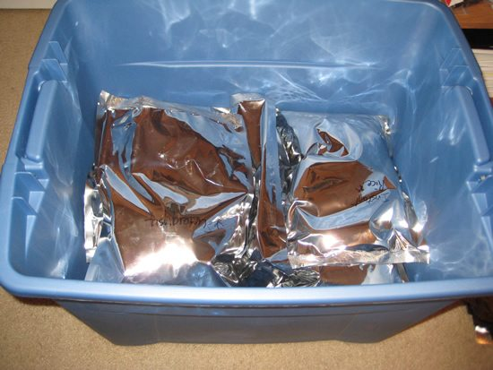 Mylar bags in a tote