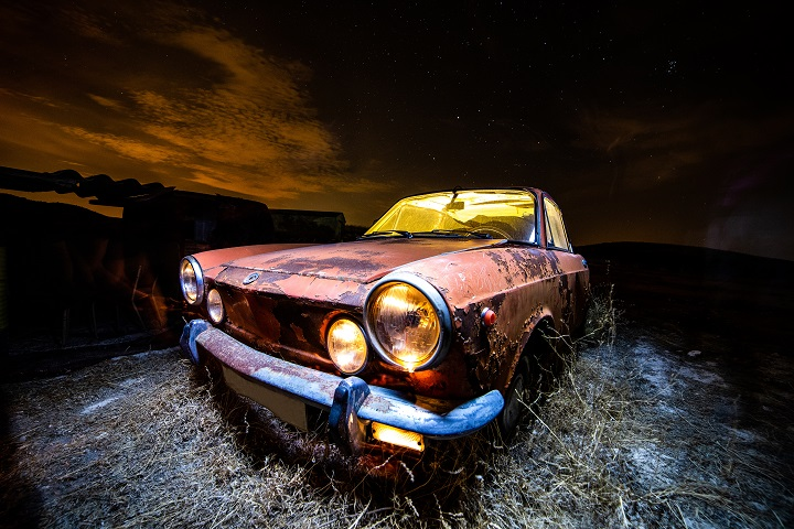 Abandoned Car At Night