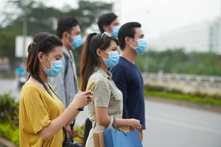 Asians Wearing Protective Masks