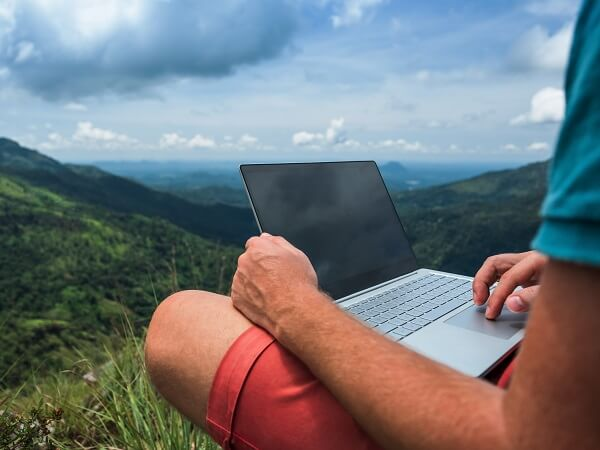 Blogging Outside With Laptop