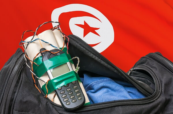Bomb in Bag in Front of Islamic Flag