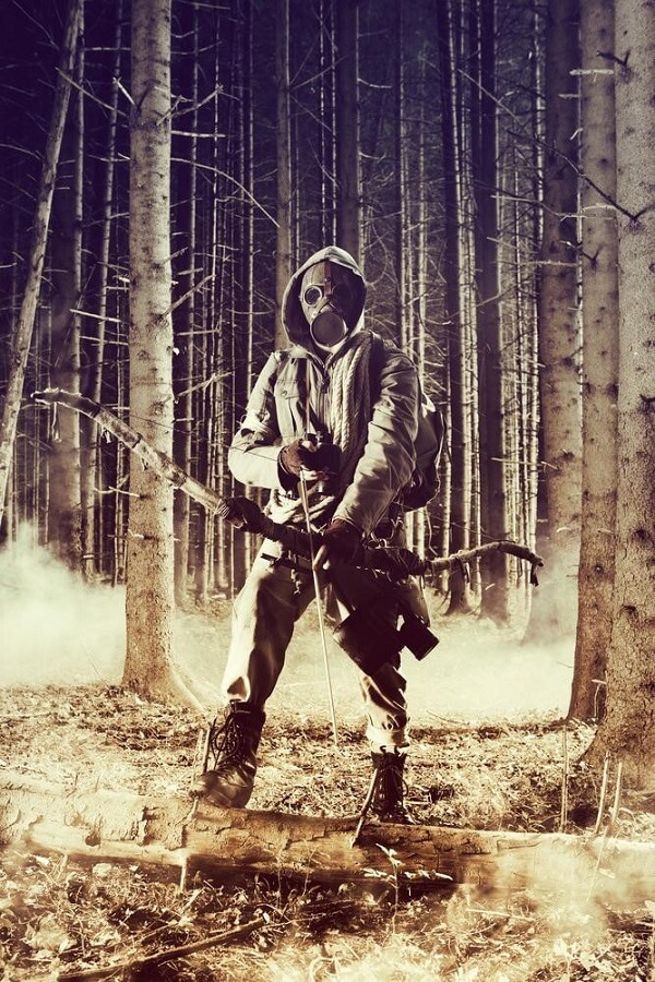 Bowhunter in a Gas Mask