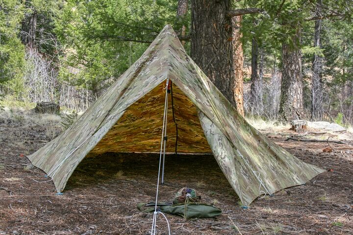 Camouflage Tarp Set Up As Tent