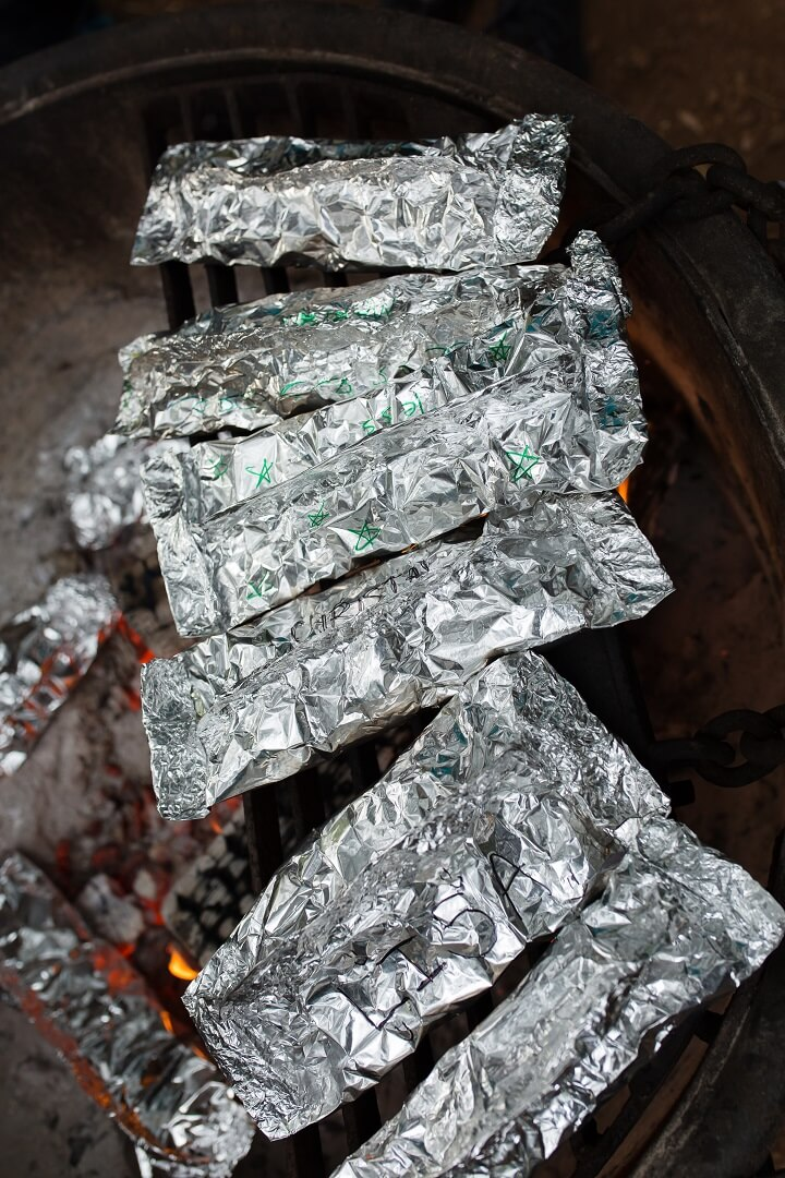 Camping Food Wrapped in Foil