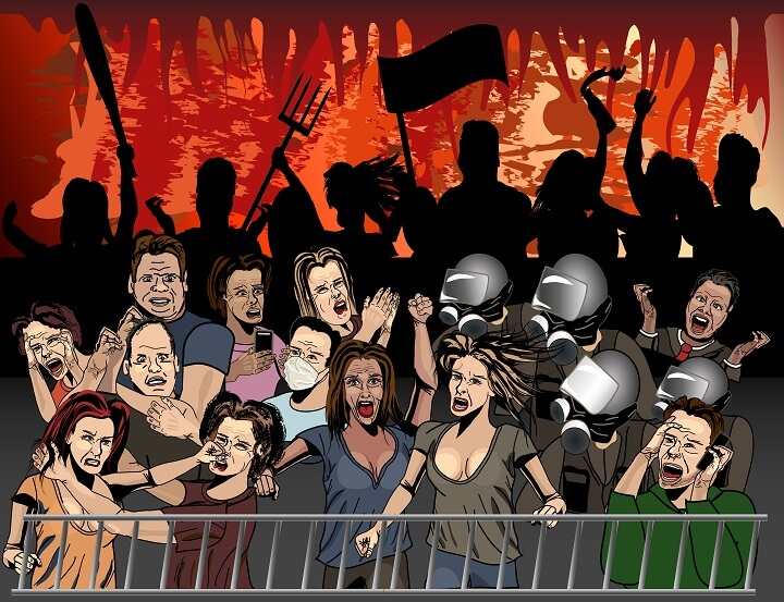 Cartoon Drawing of Angry Protesters