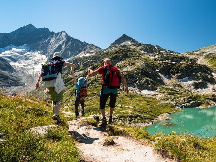 Child Hiking With Parents