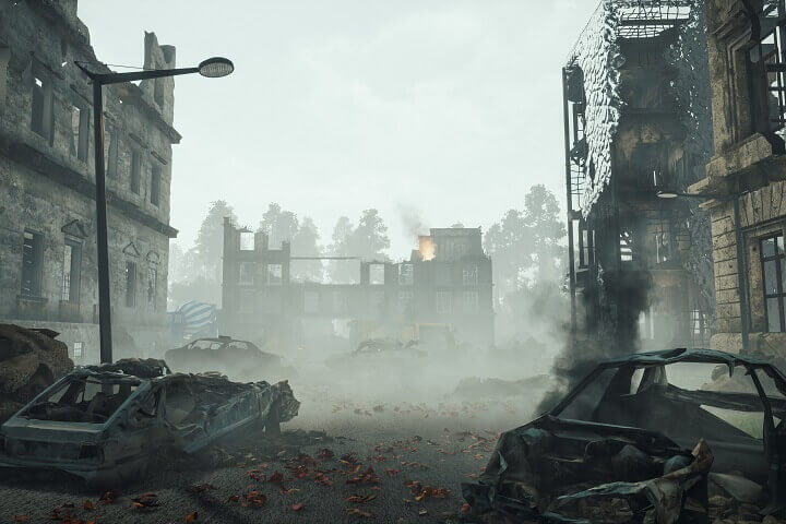 City In Ruins After Apocalypse