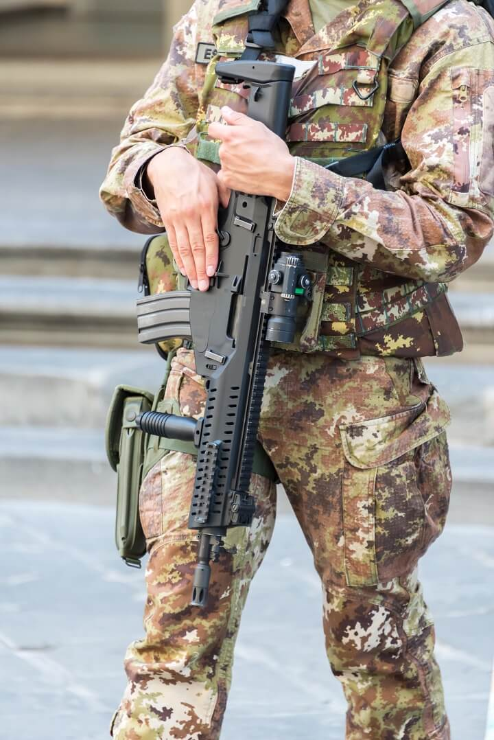Close Up Of Soldier With Automatic Rifle