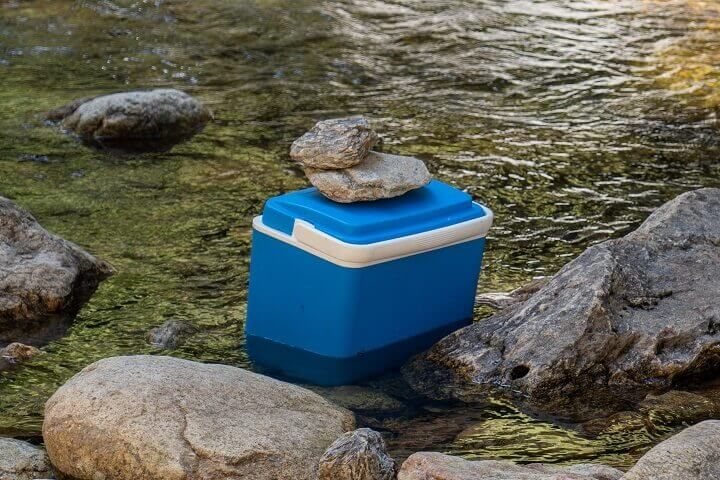 Cooler Placed In Water