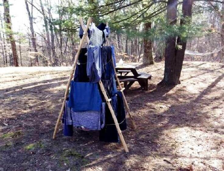 DIY Drying Rack With Clothes