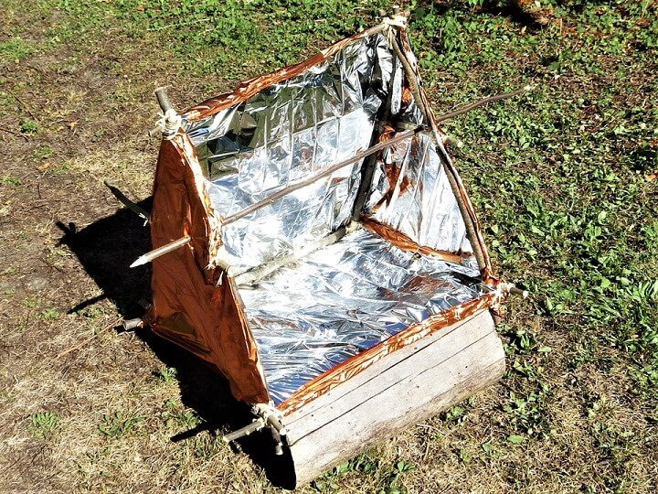 DIY Solar Reflector Oven With Spit Installed