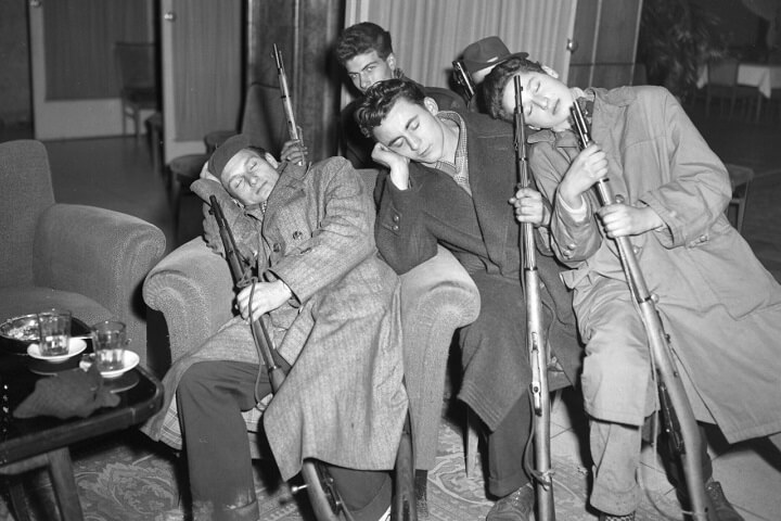 French Resistance Fighters Sleeping With Rifles