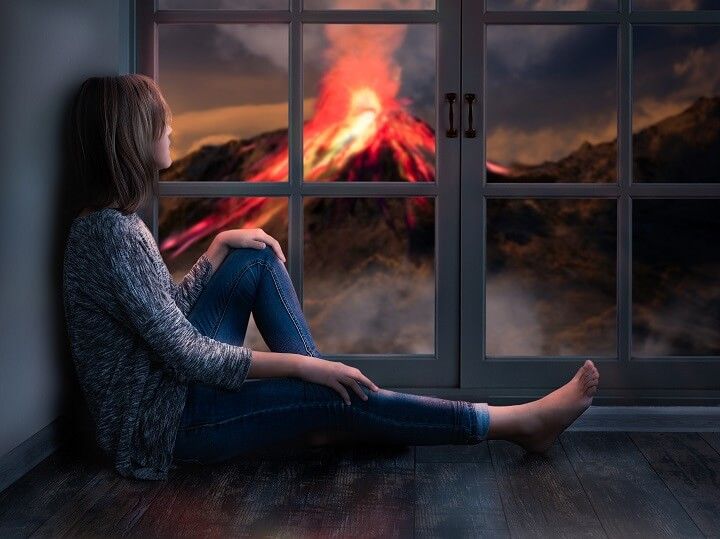 Girl Watching Volcano Erupting