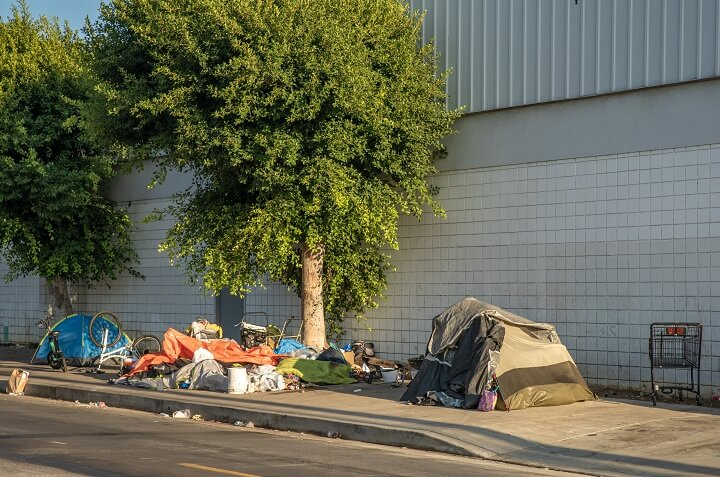 Homeless Tents On City Street