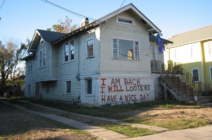 House With Warning Message for Looters