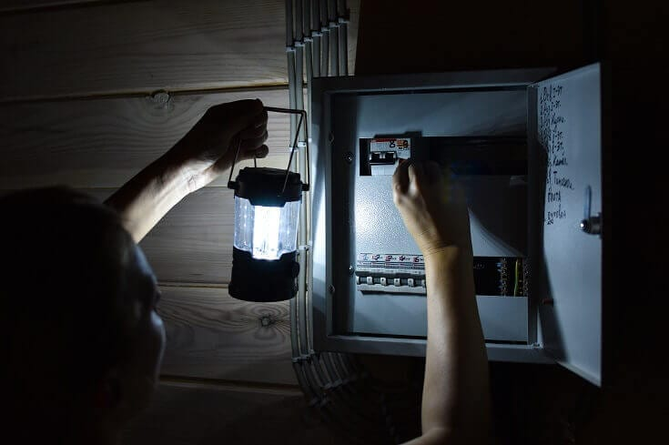 Looking at Breaker Box with Lantern