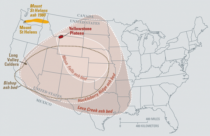 Map of United States if Yellowstone Volcano Erupts