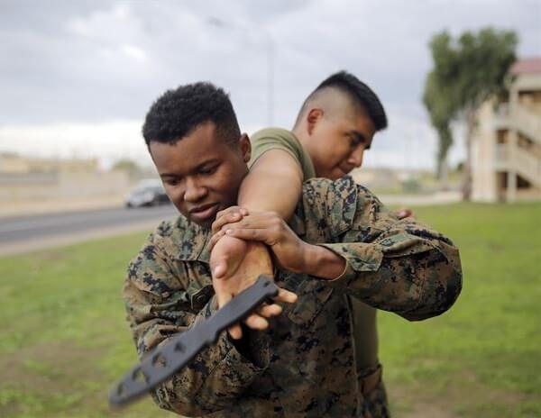 Marines Training With Knife