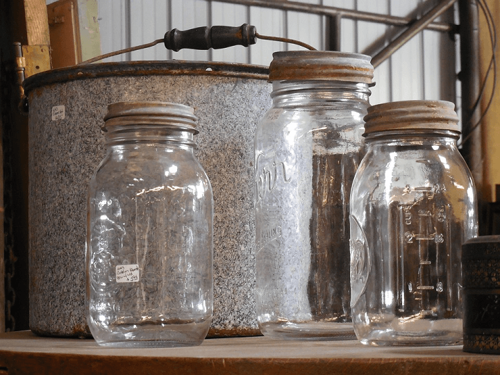 Old Canning Pot and Jars