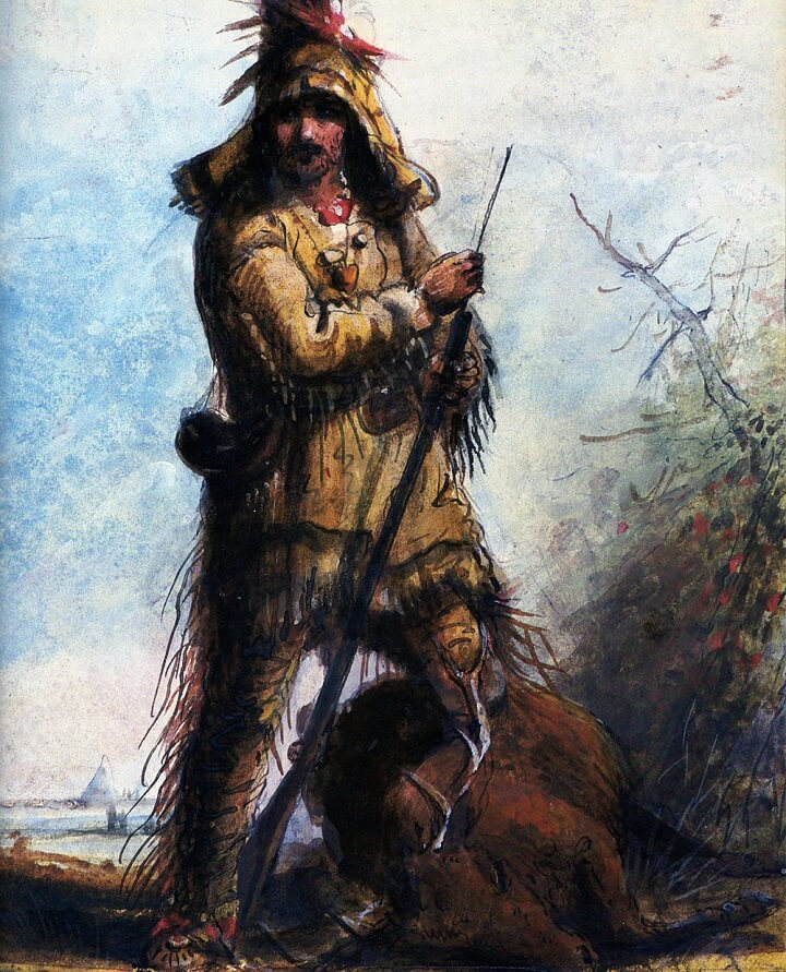 Painting Of Frontiersman Travelling