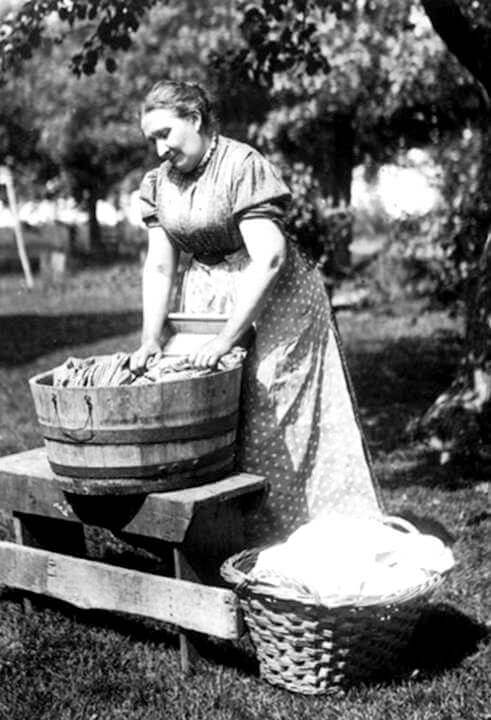 Pioneer Woman Washing Clothes In Bucket