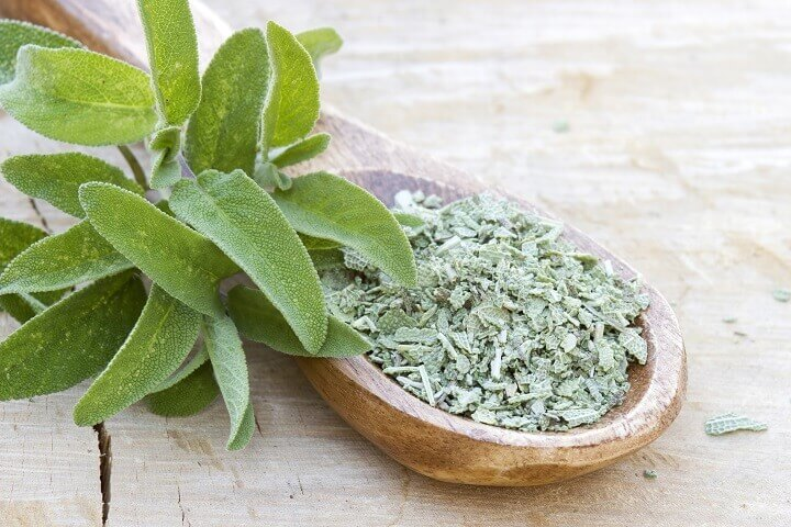 Sage Flakes in a Spoon
