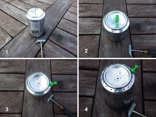 Soda Can Jet Burner Hole Punching Process
