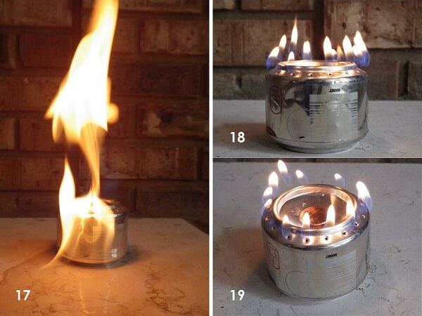 Soda Can Jet Burner Lighting Process