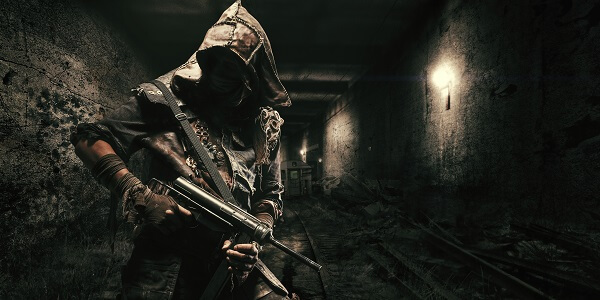 Standing in Tunnel With Gun