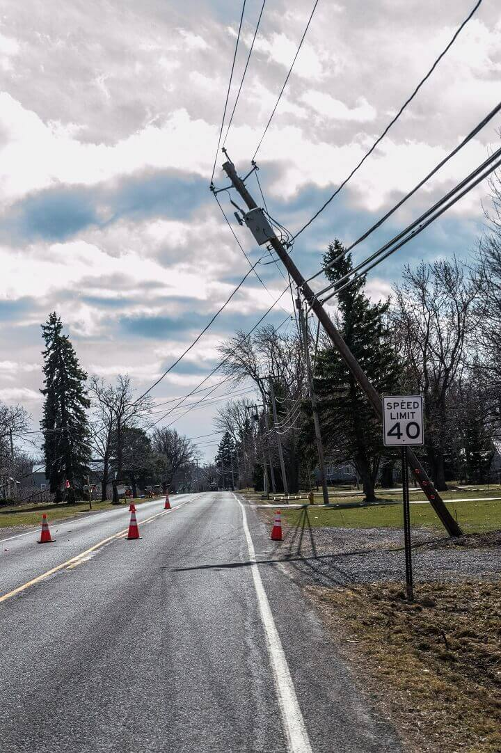 Storm Damage to Electric Pole