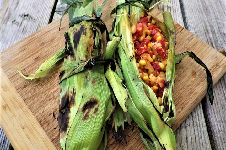 Stuffed Corn Husks After Grilling