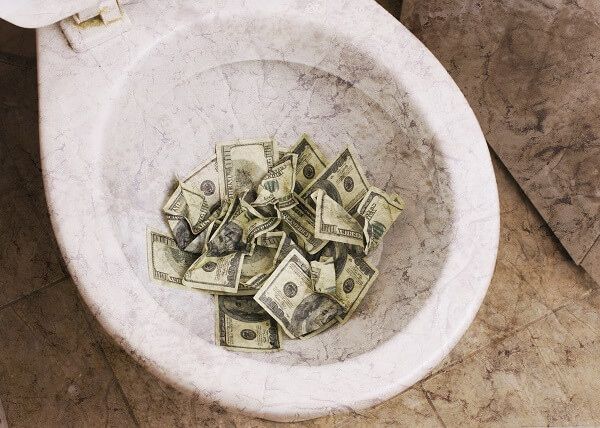 Toilet Full Of Cash
