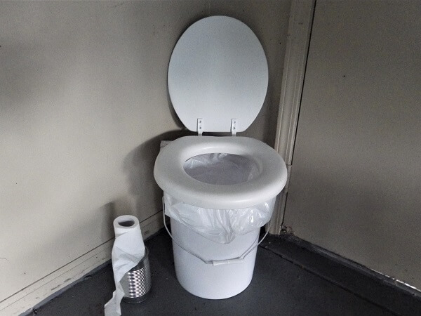 Toilet With Plastic Kitchen Garbage Bag