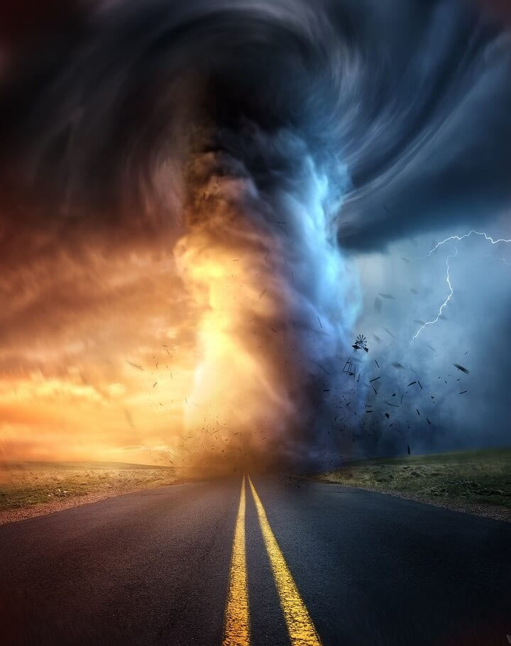 Tornado on Road with Lightning