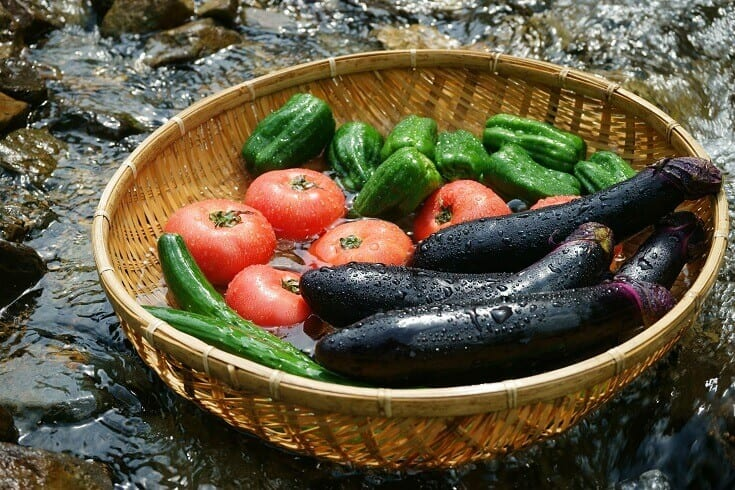 Vegetables Chilled in Cool Stream