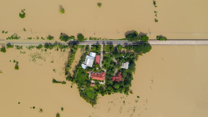 Village Surrounded By Floodwaters