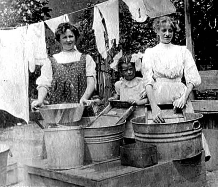 Vintage Girls Washing Clothes Outside