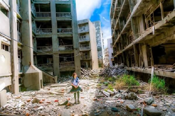 Woman in Destroyed City